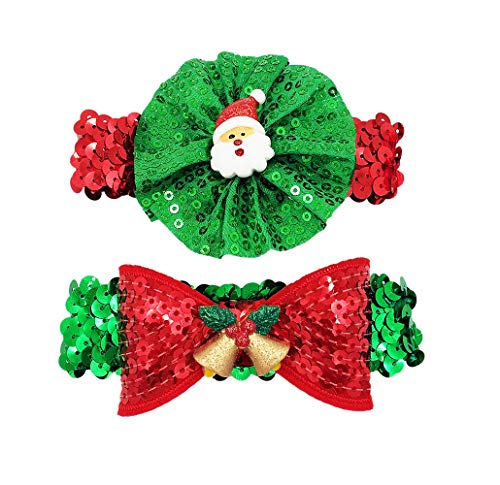 PET SHOW Christmas Small Dogs Necklace Bling Xmas Cat Puppy Elastic Collar Stretchy Party Costume Grooming Accessories Size S Pack of 2