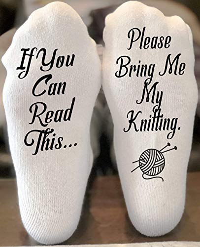If You Can Read This Bring Me Novelty Socks - Knitting - Funny Socks For Men and Women Christmas Stocking Stuffers Gift Ideas