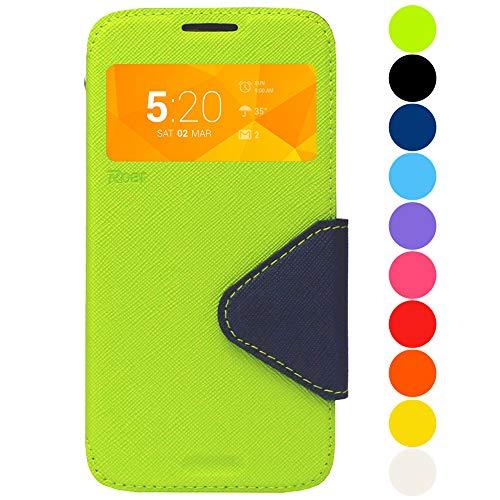 Roar Premium Hülle für Samsung Galaxy Alpha Handyhülle, Flip Hülle Schutzhülle Tasche Case für Samsung Galaxy Alpha, Klapphülle mit Fenster in Grün