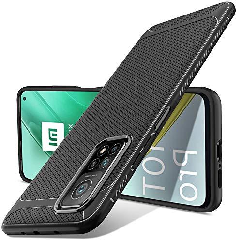 Luibor Funda Xiaomi Mi 10T/10T Pro,Absorción de Golpes Anti-Rasguños Suave Esmerilado Negro Mate Funda Protectora para Xiaomi Mi 10T/10T Pro