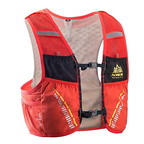 AONIJIE C933 5L Leichte Draussen Weste Rucksack zum Laufen Wandern Radfahren Klettern (Rot, M-L)