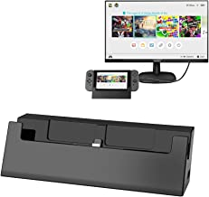 iKits Switch TV Dock, Multifunction Docking Station Portable Compact Charging Stand HDMI Adapter Compatible with Nintendo Switch, Type C Power Input + Extra USB3.0/USB2.0 Output Hub (Black)
