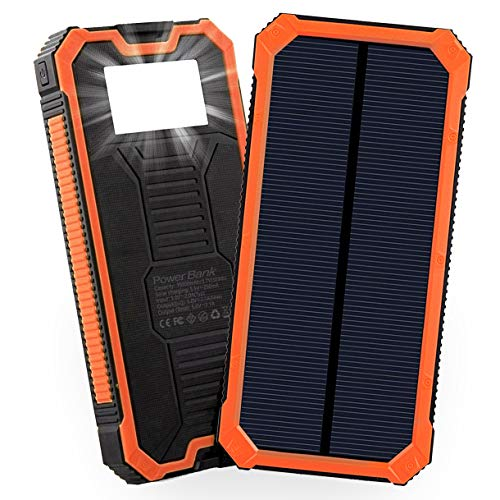 Solar Power Bank 15000mAh Friengood Portable Solar Phone Charger with Dual USB Ports, Solar External Battery Charger with 6 LED Flashlight for Cell Phone, Tablet, Camera and More (Orange)