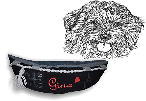 LunaChild Hundebett Hund Boot Böötchen Goldendoodle Golden - Doodle 1 Hundeboot Sofa Lounge Hundelounge mit Name Wunschname Snuggle Bag Größe XS S M L viele Farben Hundekorb