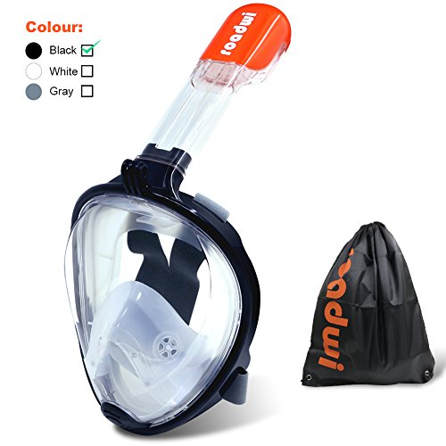 roadwi Schnorchelmaske Vollmaske 180 Grad Blickfeld Tauchmaske Anti-Beschlag-Schutz Kompatibel mit Action Kamera-Halterung für Erwachsene und Kinder(Schwarz,L/XL)