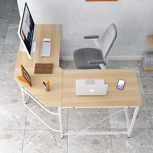 DlandHome Computertisch Eckschreibtisch 150 cm + 150 cm Winkelschreibtisch L-förmig, großer Gaming Schreibtisch Arbeitstisch Bürotisch PC Laptop Studie Tisch mit CPU-Ständer,Ahorn & Weiß