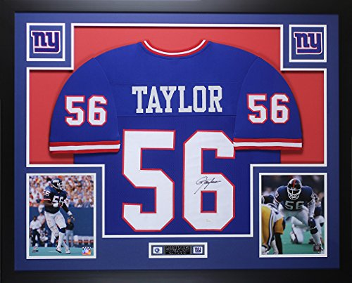 Lawrence Taylor Autographed Blue New York Giants Jersey - Beautifully Matted and Framed - Hand Signed By Lawrence Taylor and Certified Authentic by JSA - Includes Certificate of Authenticity