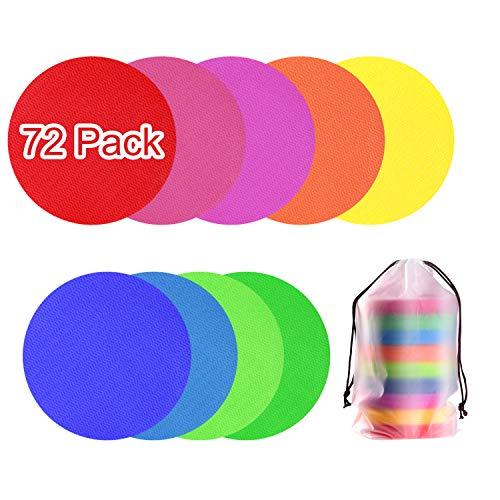 TUPARKA 72 Pack Spot Markers Pisos en el Suelo 4 Pulgadas Marcadores de alfombras Spots para Sentarse en el Aula Preescolar y Kindergarten, 9 Colores