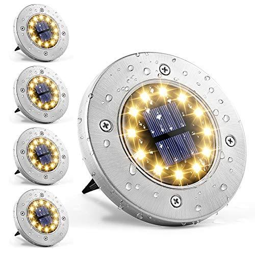 GIGALUMI Solar Bodenleuchte 12 LEDs 4 Stück Solarleuchten Warmweiß Gartenleuchten Edelstahl Wasserdicht für außen, Garten, Terrasse, Rasen, Hof, Gehweg