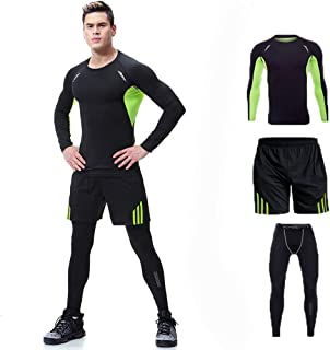 Men's Sportswear T-Shirts and Pants, Stretch Fitness T-Shirt Quick-Dry Pants Sports Tights Sports Set Three Sets,Green,XXXL