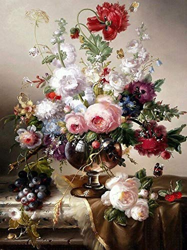 5D Diamond Painting Flowers Full Round Drill Mosaic Embroidery Vase Painting Rhinestone Home Decor A1 30x40cm