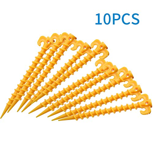 LOBKIN Canopy Stakes Outdoor Blanket Stakes Tent Stakes Durable and Strong Plastic Peg for Beach Mat, Screw Shape 20 cm 7.8 inch - 10 Pack