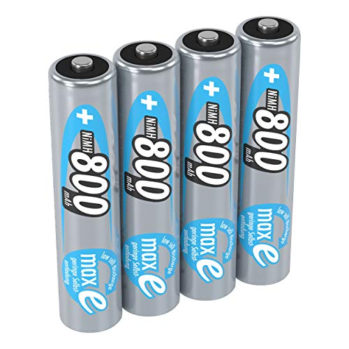 ANSMANN Akku AAA 800 mAh NiMH 1,2 V (4 Stück) - Micro AAA Batterien wiederaufladbar, maxE geringe Selbstentladung für jahrelangen Einsatz