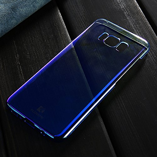 Wireless Charger Samsung Galaxy S8 Plus Case, FLOVEME Slim Fit Gradual Colorful Gradient Change Color Ultra Thin Lightweight Electroplating Bumper Anti-Drop Clear Hard Back Cover, Transparent Purple