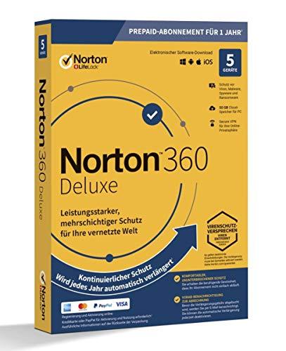 NORTON 360 DELUXE *5-Geräte / 1-Jahr* inkl. 50GB
