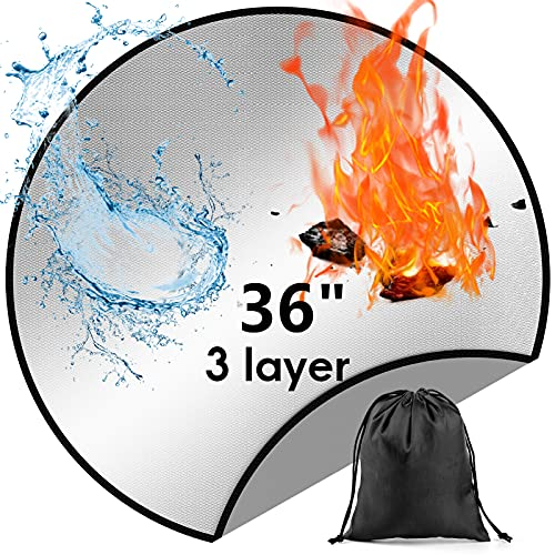 Fire Pit Mat For Decking Patio Grass Protection Fire Pit Accessories Fireproof Mat 3 Layer 36 inch Large BBQ Grill Mat Fire Pit Mats Heat Proof Mat For Under Fire Pit Fireplace Deck Camping Stove