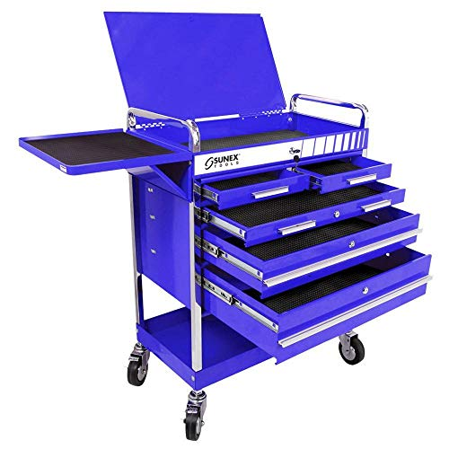 Sunex 8045BL Professional 5 Drawer Service Cart (Blue)