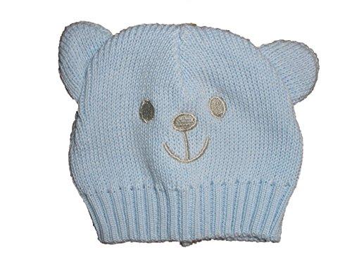 Frühchen Strickmütze - Bär / PB-2016-427 / 100% Baumwolle / Gr. 30-32 cm Kopfumfang, Farbe:hellblau