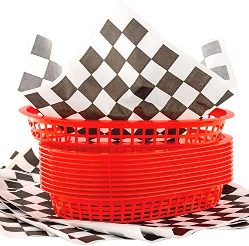 Retro Style Red Fast Food Basket 6 Pk and Black Checkered Deli Liner 60 Pk Combo Classic 11 product image