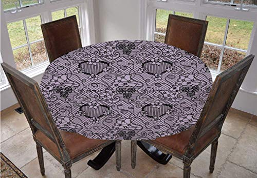 Angel Bags Gothic Round Tablecloth,Black Lace Style Needlecraft Pattern with Ornate Flowers Feminine Victorian Motifs Polyester Table Cover,90 Inch,for Dining Room Kitchen Party Lilac Black