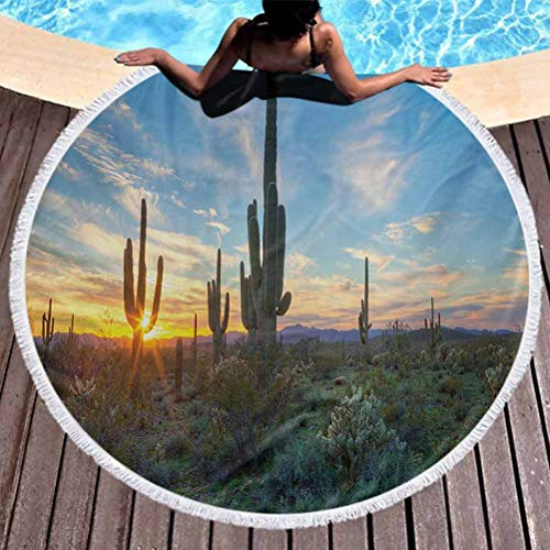 Luxury Thick Round Beach Towel Saguaro Oversized Beach Towel Sun is Setting Between Cactus Plants with Spines Magical Noon Landscape Wild Design for Travel, Gym, Camping Green Blue (Diameter 59')