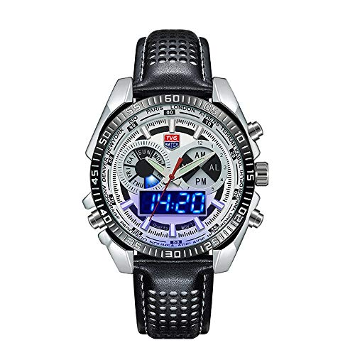 FENKOO TVG Armbanduhren TVG Uhr Herrenuhr wasserdicht LED Dual-Display leuchtenden Sportuhr Gürtel 568PD (Color : 3)