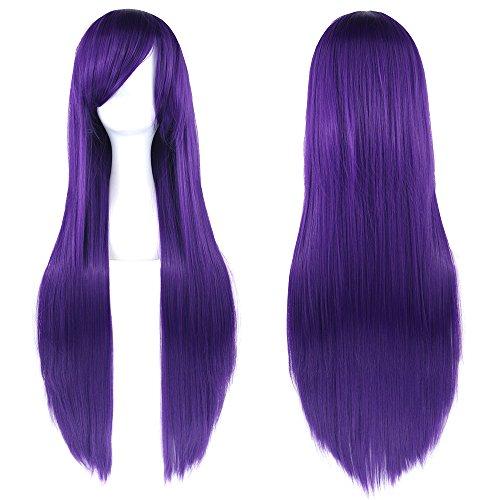 Peluca larga y lisa de 81,28 cm para disfraz, pelo sintético con pinzas oblicuas, para Halloween, cosplay, fiestas de chicas. Con redecilla para peluca.