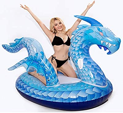 dreambuilderToy Giant Inflatable Dragon Pool Float, Cool ice Dragon raft 9 Feet Long with Faster Valve, Pool Float Floatie Ride On Summer Beach Pool Party Lounge for Kids and Adults (Dragon Float)