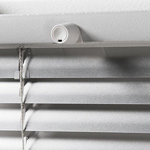 Klemmfix Alu Jalousie Plissee Aluminium Jalousette Lamellen Rollo Silber Montage ohne zu Bohren 55 cm breit x 130 cm hoch stufenlos verstellbar
