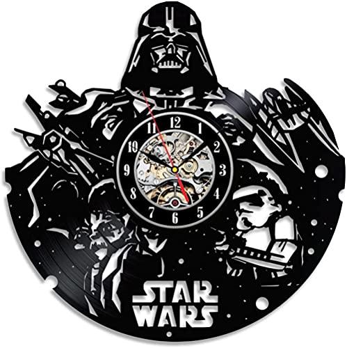 kkkjjj Reloj de Pared con Disco de Vinilo Decorativo Negro Sky Wars