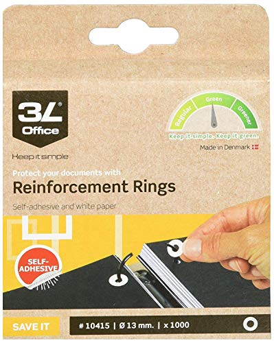 Fisherclark 3 x Self Adhesive Paper Reinforcement Ring (Pack of 1000)