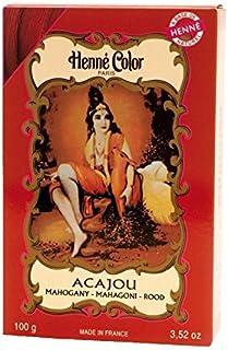 ヘンカラーヘナパウダーヘアカラーマホガニー赤100グラム - Henne Color Henna Powder Hair Colour Mahogany Red 100g (Henne Color) [並行輸入品]