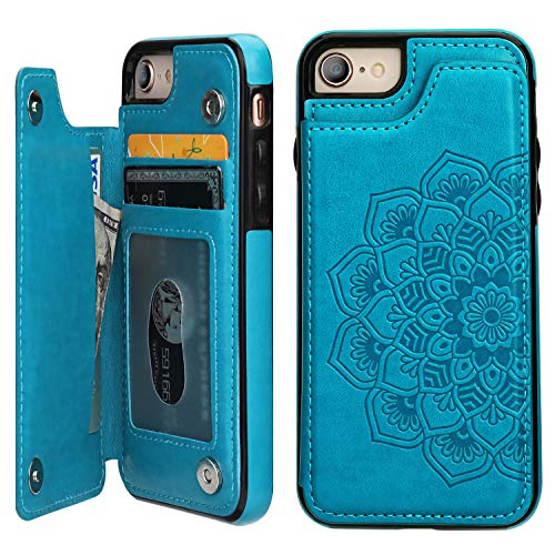 Vaburs iPhone 7iPhone 8 iPhone SE 2020Case Wallet with Card Holder, Embossed Mandala PatternFlower Premium PU Leather Double Magnetic Buttons Flip Shockproof Protective Case(Blue)