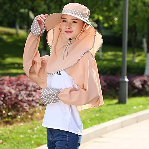 JXFM Zonnehoed voor dames, zonnevizier, zonnehoed voor de zomer, zonnehoed, UV-bescherming, lange jas, opvouwbaar, voor zool kaki
