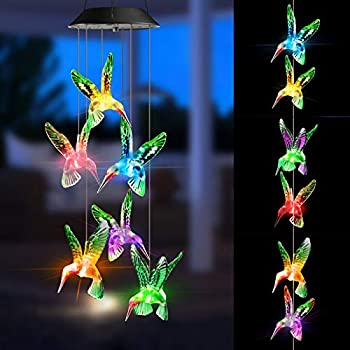 Joomer LED Solar Hummingbird Wind Color Changing Chime
