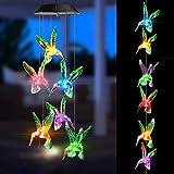 Joomer Solar Windspiel, Garten Dekoration Licht RGB Multi-Color Allmähliche Änderung, Sechs Solar-Kolibri-Lichter Wasserdicht Automatische AN/AUS Großes Geschenk für Weihnachten Valentin