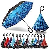 Siepasa Auto Open Reverse Umbrella, Inverted Umbrella, Upside Down Umbrella (Blue Butterfly,Auto)