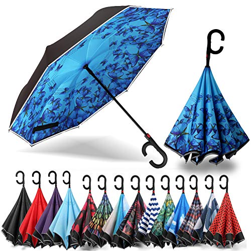 Siepasa Auto Open Reverse Umbrella, Umbrella Windproof, Inverted Umbrella, Umbrellas for Women with UV Protection, Upside Down Umbrella with Safe Reflective Stripe