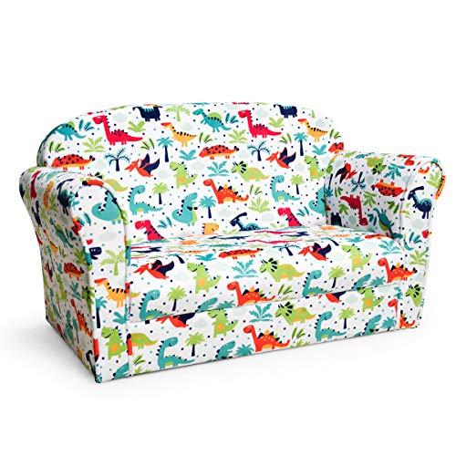 HONEY JOY Kids Sofa, Children Upholstered Armrest Chair w/Sturdy Wooden Frame, Toddler Living Room Bedroom Furniture for Baby Boy Girls (Double Seat, Dinosaur)