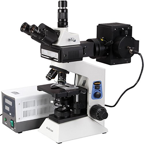 AmScope FM580TA Trinocular Compound Epi-Fluorescence Microscope, WF10x and WF16x Eyepieces, 40X-1600X Magnification, Brightfield, 30W Halogen Illumination, Abbe Condenser, Double-Layer Mechanical Stage, Anti-Mold, 110V, Includes 4 Fluorescence Objectives