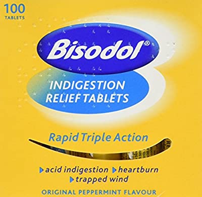 Bisodol Indigestion Relief Tablets - 100 Tablets Fast Relief to Trapped Wind, Acid Indigestion & Heartburn