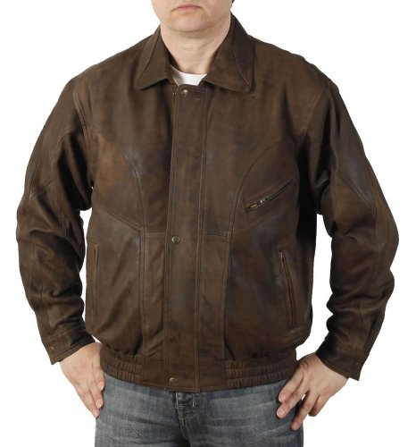 Simons Leather Blouson homme en cuir vieilli « buffle » marron - Taille 2XL