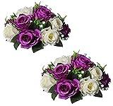 Sziqiqi Faux Silk Rose Flowers Artificial Flowers for Wedding Party Centerpiece Decorations Home Decorative Flowers, Pack of 2 Purple & White