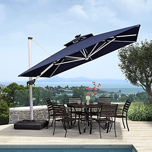PURPLE LEAF 11 Feet Double Top Deluxe Solar Powered LED Square Patio Umbrella Offset Hanging Umbrella Outdoor Market Umbrella Garden Umbrella, Navy Blue