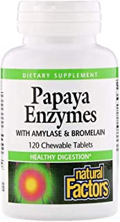 Natural Factors Papaya Enzymes with Amylase Bromelain - 120 Chewable Tablets