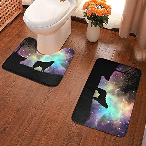 Juego de 2 alfombrillas de baño de franela suave con diseño de cielo estrellado y lobo