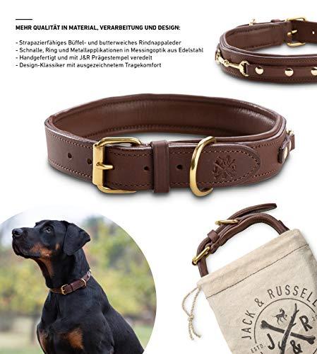 Jack & Russell Premium Leder Hunde Halsband Adel - Original Leder Halsband - echtes Leder braun Adel (L)