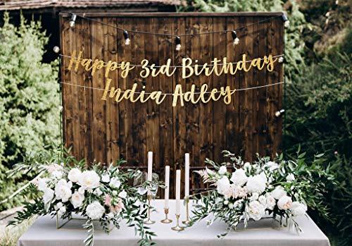 Banner de 3er cumpleaños con texto en inglés 'Happy 3rd Birthday' para tercera fiesta