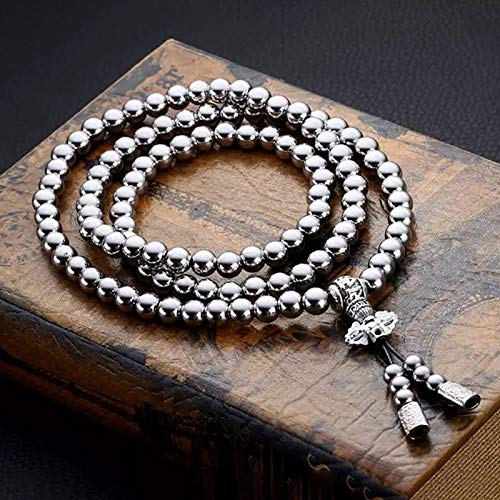Outdoor 108 Buddha Beads Hand Chain Necklace Bracelet Full Steel Chain Personal Supplies