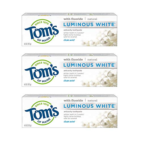 Tom's of Maine Natural Luminous White Toothpaste with Fluoride, Clean Mint, 4.7 oz. 3-Pack